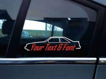 2x Custom YOUR TEXT car stickers - for Ford Mustang GT Fox Body hatch 1987-1993 | classic